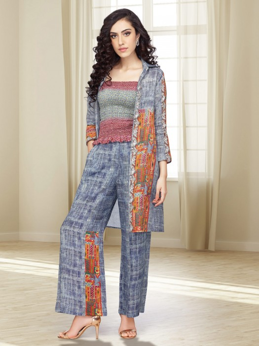 Grey Color Cotton Fabric Jacket Style Palazzo Suit