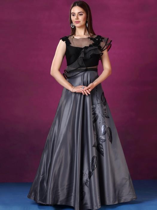 Grey Color Designer Silk Party Gown