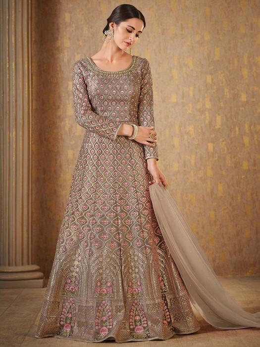 Grey Color Floor Length Anarkali Suit  For Wedding Wear