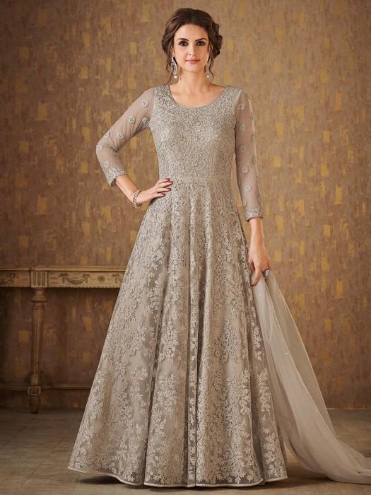 Grey Color Floor Length Anarkali Suit In Net Fabric