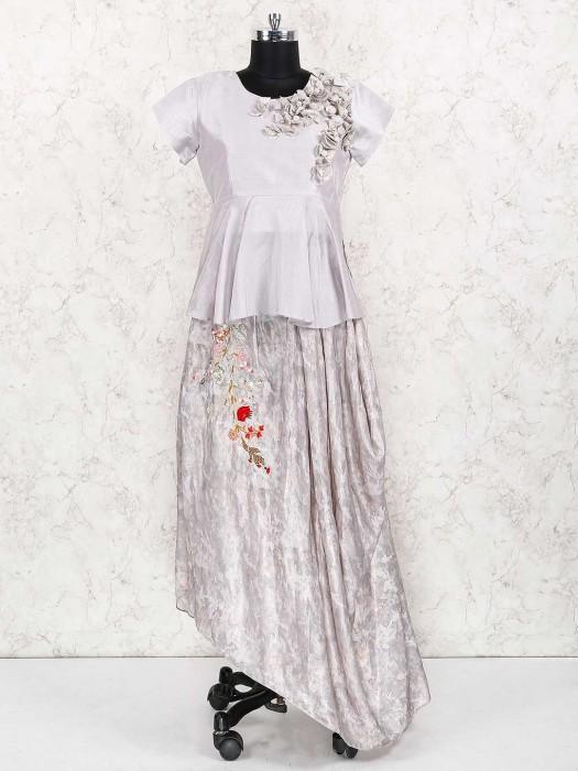 Grey Color Silk Fabric Indo Western Lehenga Choli