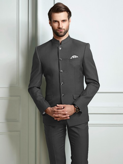 Grey Color Terry Rayon Jodhpuri Suit