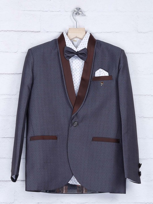 Grey Color Terry Rayon Party Wear Coat Suit