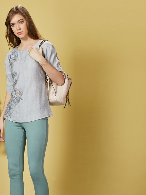 Grey Cotton Casual Printed Top