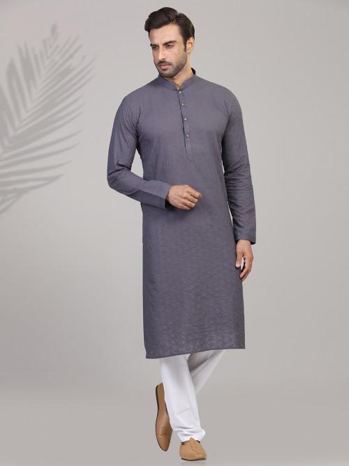 Grey Cotton Chikan Thread Kurta Suit