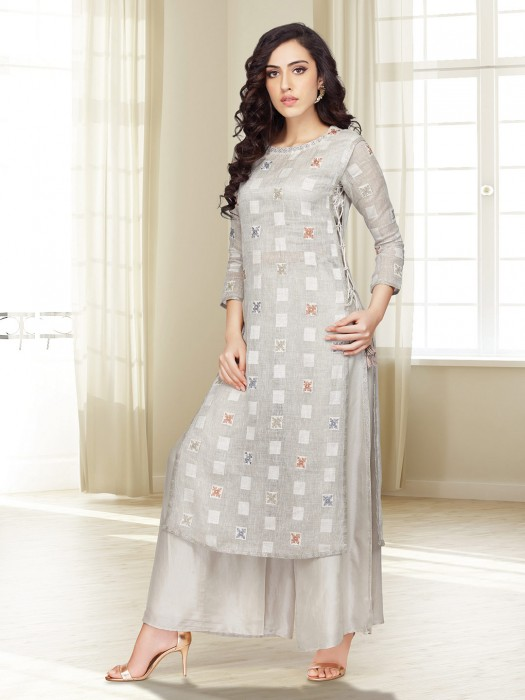 Grey Cotton Fabric Punjabi Palazzo Suit