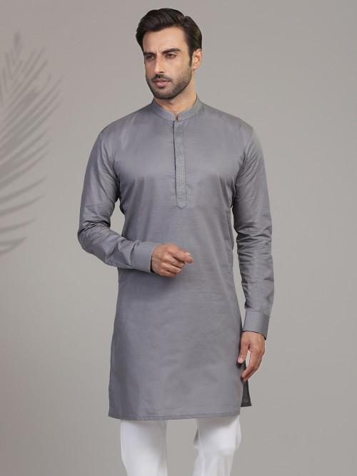 Grey Cotton Festive Wear Mens Kurta