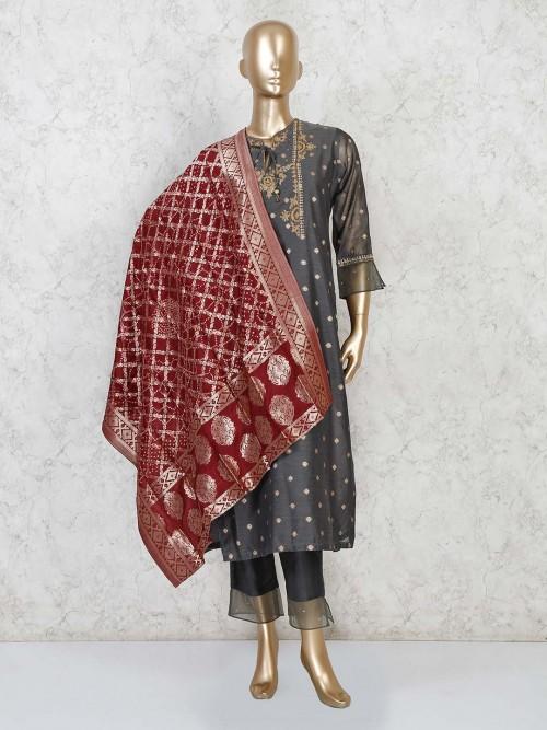 Grey Cotton Punjabi Pant Suit In Festive Wear