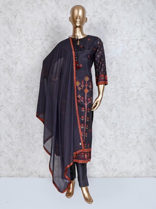 Grey Cotton Silk Festive Punjabi Pant Suit