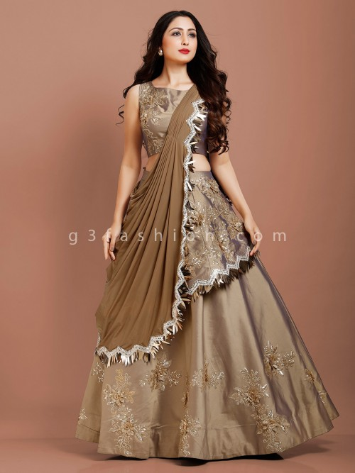 Grey Designer Lehenga Choli With Attached Dupatta In Satin Silk