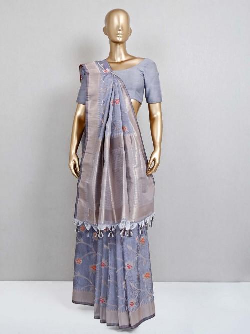 Grey Festive Wear Semi Banarasi Silk Saree