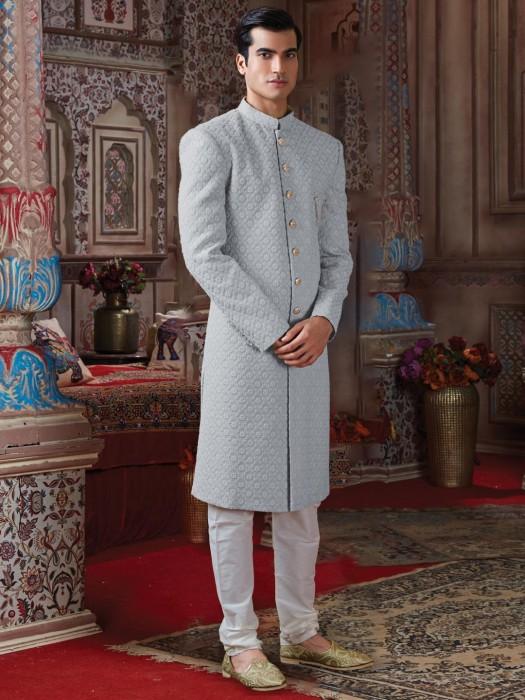 Grey Georgette Designer Groom Wear Sherwani
