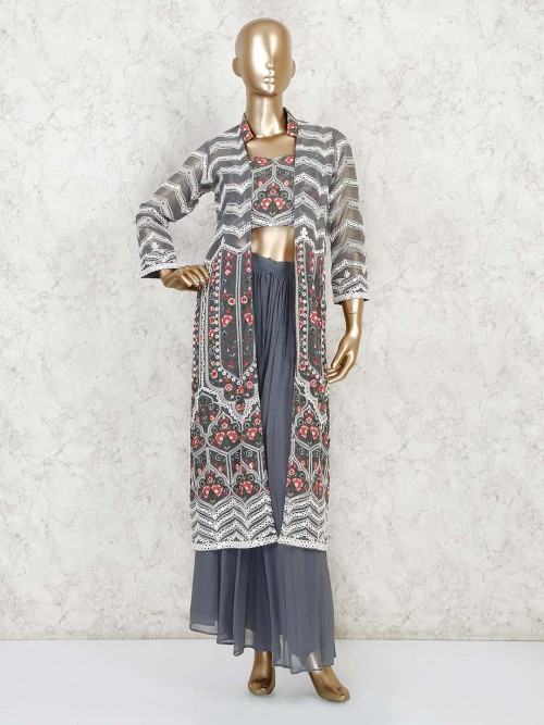 Grey Georgette Designer Indo Western Palazzo Suit