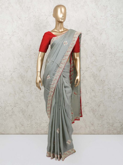 Grey Georgette Saree For Party Days