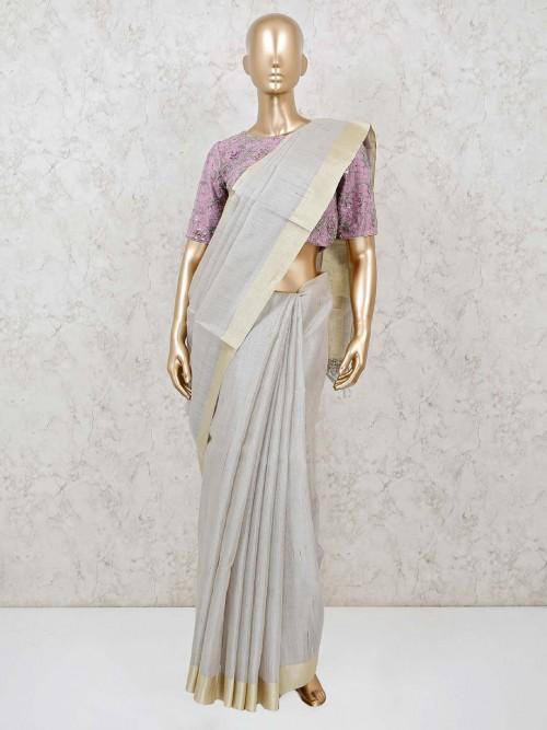 Grey Handloom Cotton Festive Saree With Ready Made Blouse
