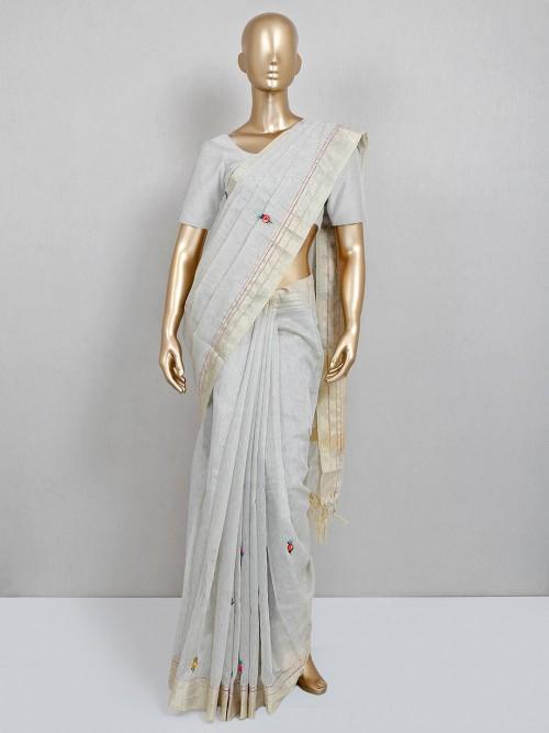 Grey Handloom Cotton Saree For Festive