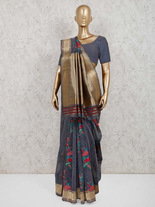 Grey Handloom Cotton Silk Festive Saree
