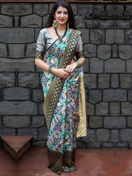 Grey Hue Banarasi Patola Silk Saree