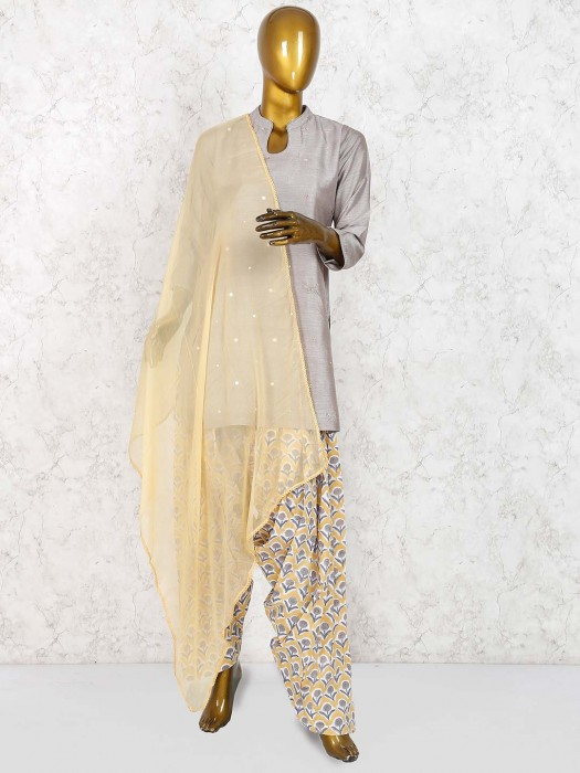 Grey Hue Cotton Festive Punjabi Salwar Suit