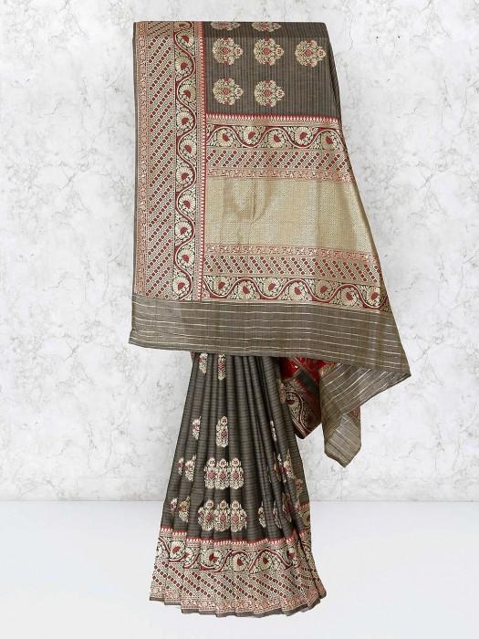 Grey Hue Festive Wear Banarasi Semi Silk Saree