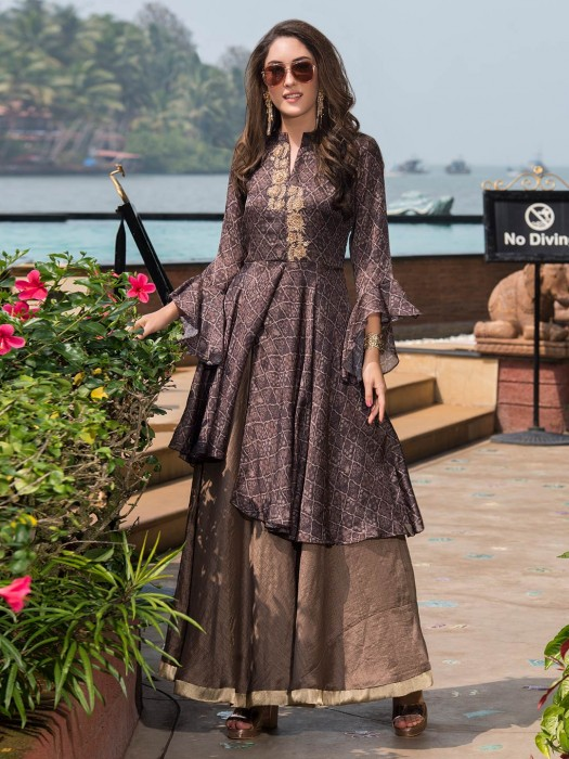 Grey Hue Kurti In Cotton For Festive