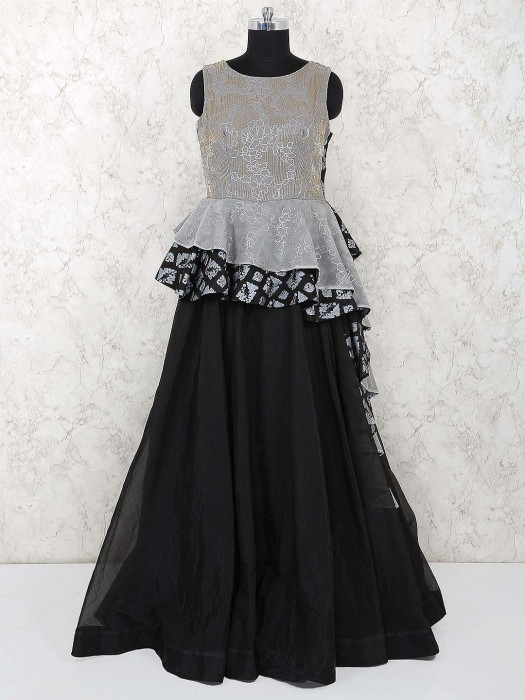 Grey Hue Party Wear Designer Gown