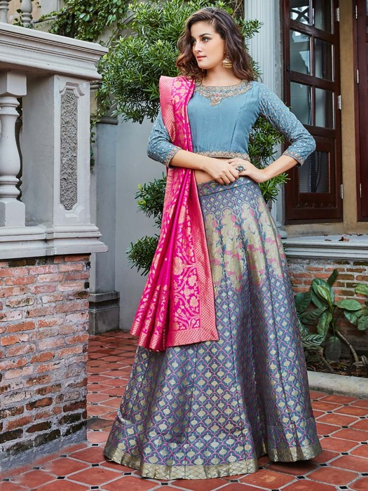 Grey Hue Raw Silk Festive Lehenga Choli