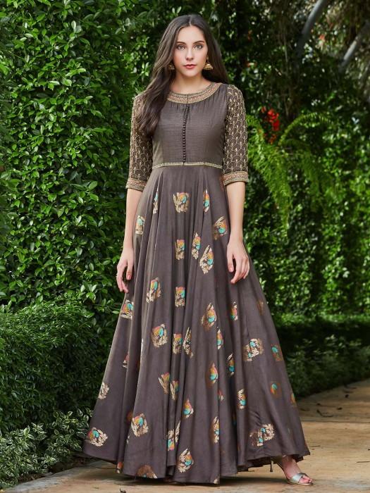 Grey Hue Raw Silk Floor Length Anarkali Suit
