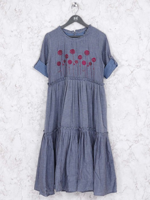 Grey Hue Stripe Kurti In Cotton