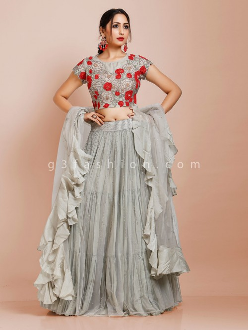Grey Net Designer Lehenga Choli With Ruffle Dupatta