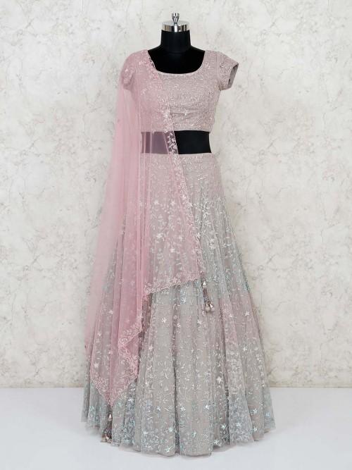 Grey Net Lehenga Choli For Wedding