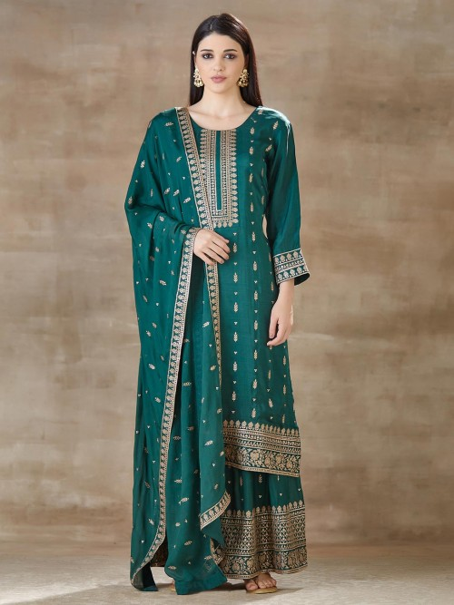Grey Palazzo And Kurti Set In Cotton Silk For Festival