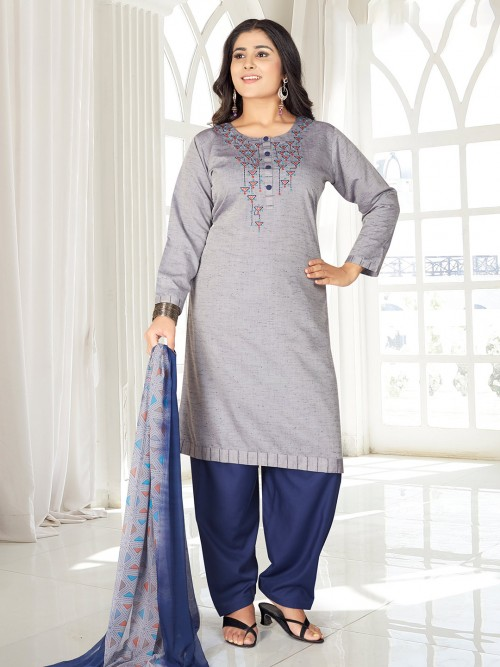 Grey Punjabi Salwar Suit With Thread Work