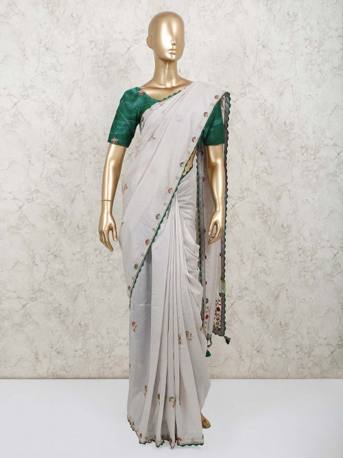 Grey Saree For Party Wear In Georgette