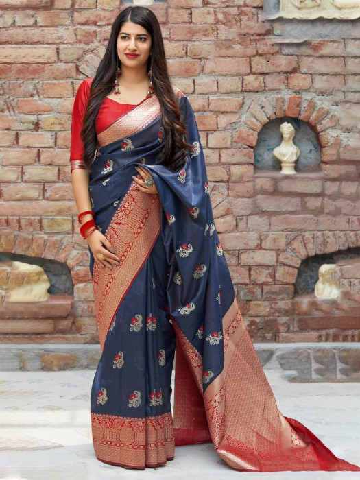 Grey Saree In Banarasi Silk Fabric