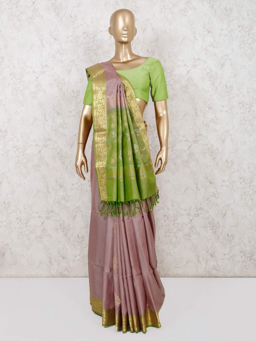 Grey Saree In South Pure Silk For Wedding