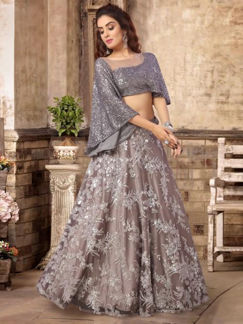 Grey Satin Tissue Silk Party Lehenga Choli