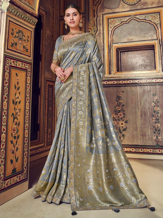Grey Semi Silk Saree With Embroidered Blouse
