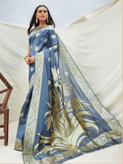 Grey Semi Silk Zari Weaving Festive Wear Saree