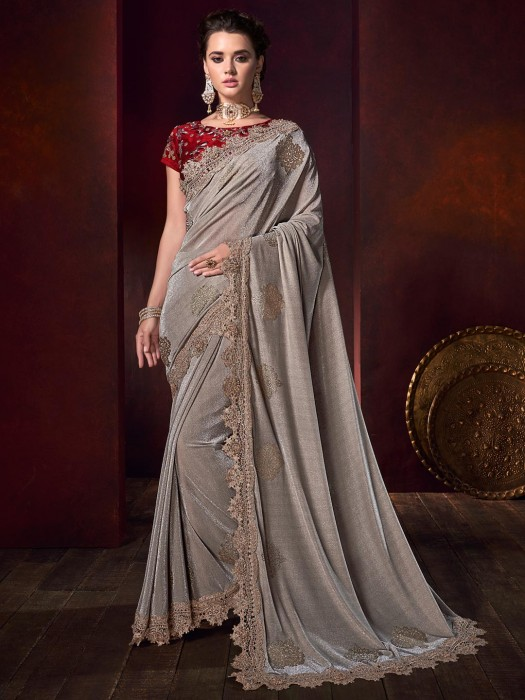 Grey Shimmer Saree For Party Wear