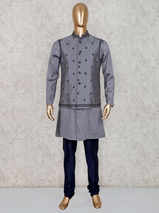 Grey Silk Party Wear Stand Collar Waistcoat Set