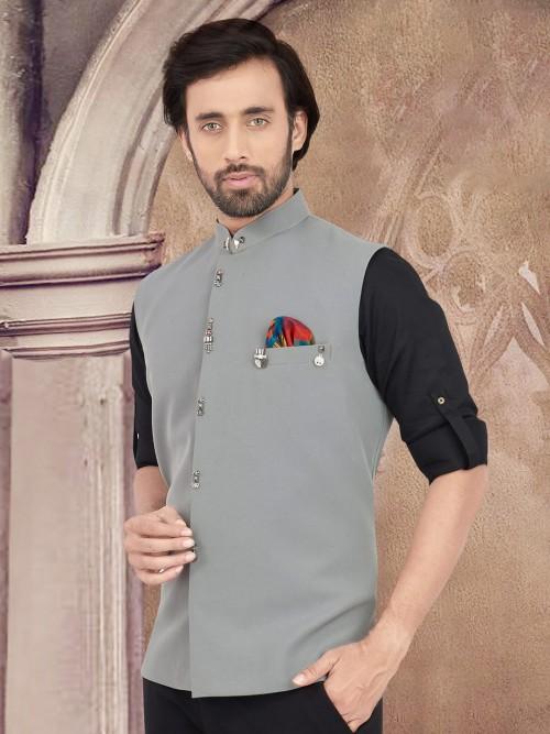 Grey Solid Party Wear Cotton Waistcoat