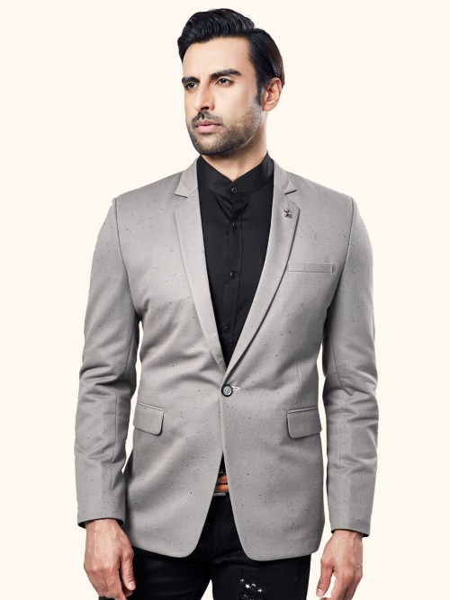 Grey Solid Terry Rayon Blazer For Parties