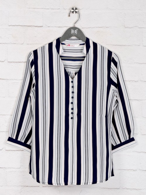 Grey Stripe Casual Get Togeather Top