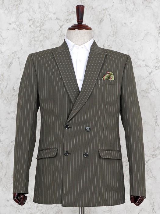 Grey Terry Rayon Party Stripe Pattern Blazer