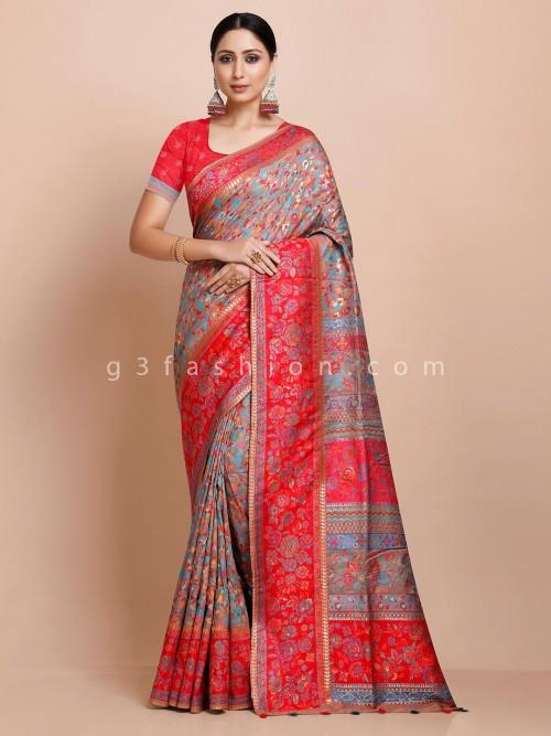 Grey Thread Weaving Pashmina Silk Saree For Wedding