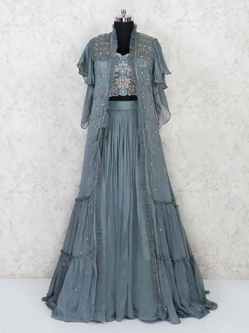 Grey Tissue Silk Lehenga Choli For Wedding