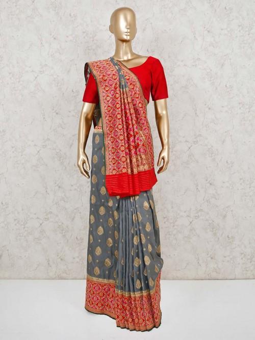 Grey Wedding Banarasi Silk Saree