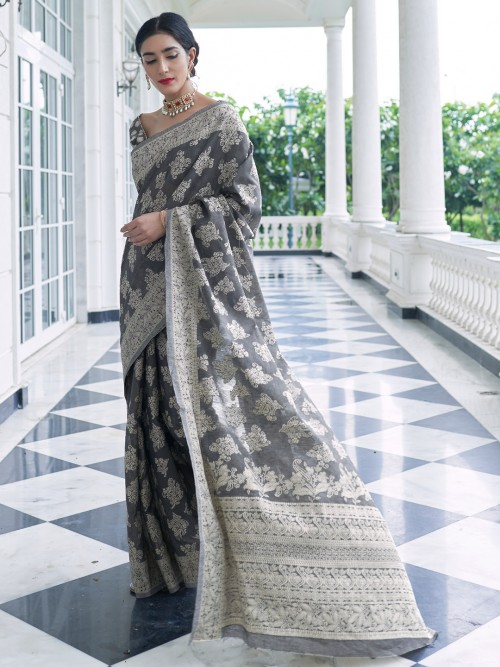 Grey Wedding Saree In Georgette With Lucknowi Work