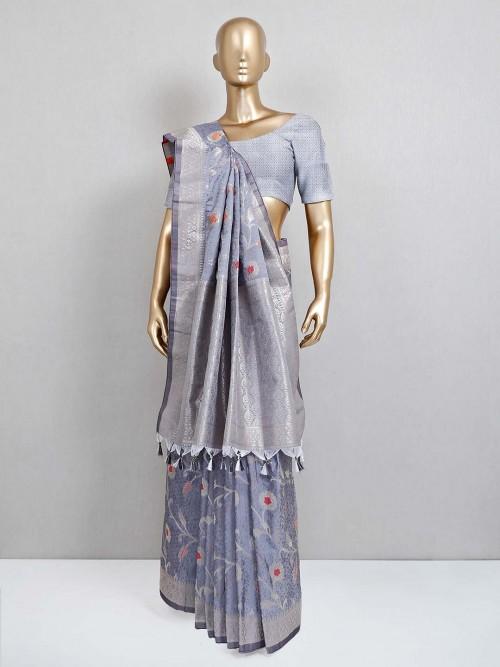 Grey Wedding Semi Banarasi Silk Saree